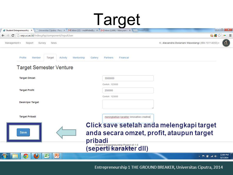 Target Click save setelah anda melengkapi target anda secara omzet, profit, ataupun target pribadi.