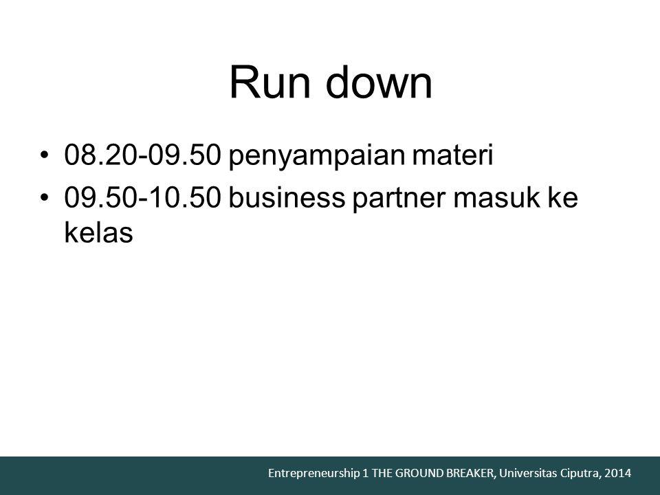 Run down 08.20-09.50 penyampaian materi