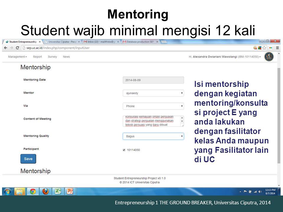 Mentoring Student wajib minimal mengisi 12 kali