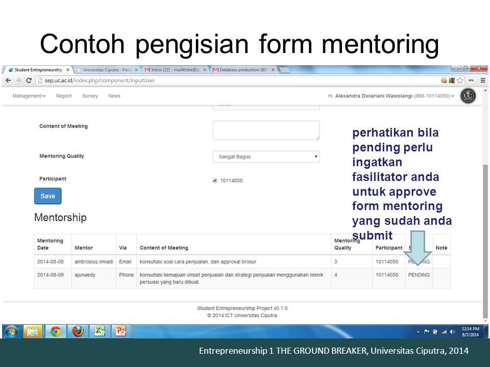 Contoh pengisian form mentoring