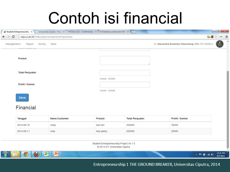 Contoh isi financial