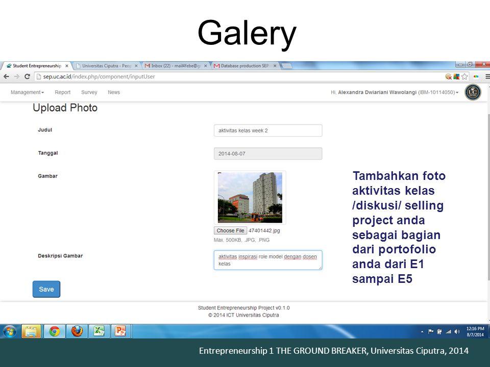 Galery Tambahkan foto aktivitas kelas /diskusi/ selling project anda sebagai bagian dari portofolio anda dari E1 sampai E5.
