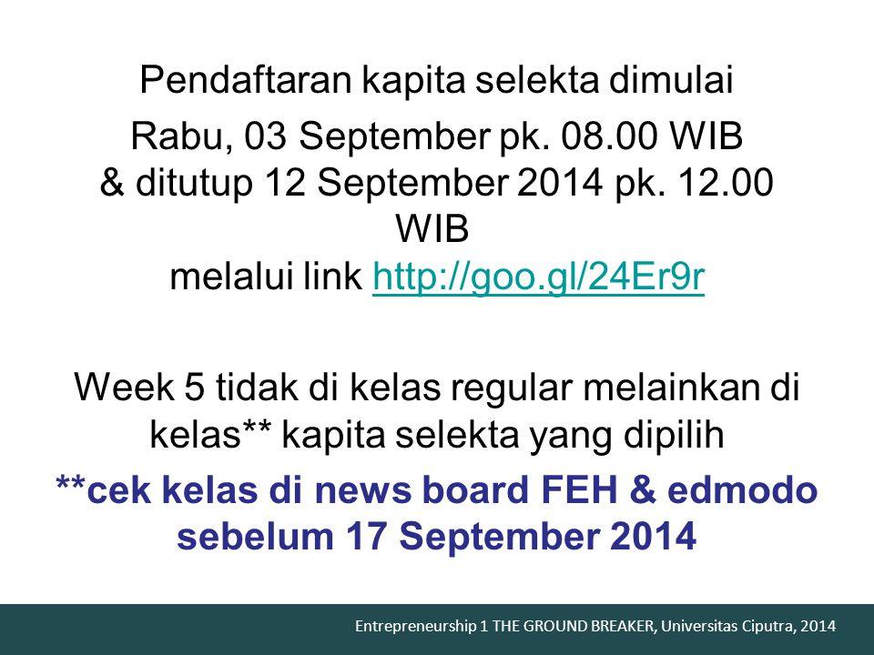 Pendaftaran kapita selekta dimulai Rabu, 03 September pk. 08