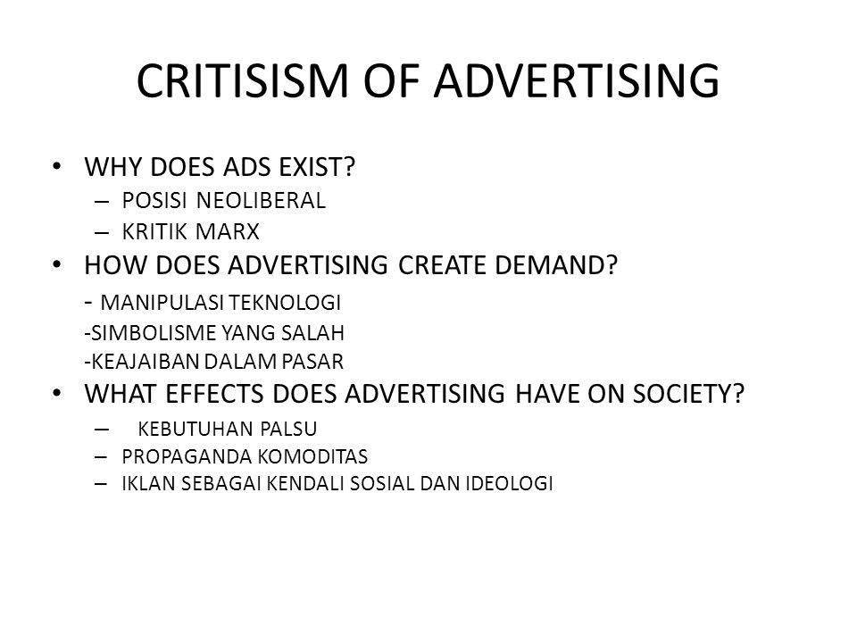 CRITISISM OF ADVERTISING