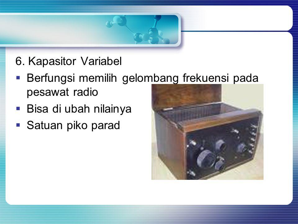 6. Kapasitor Variabel Berfungsi memilih gelombang frekuensi pada pesawat radio. Bisa di ubah nilainya.