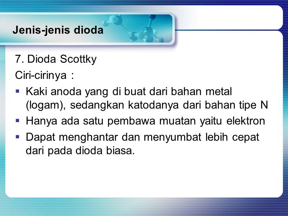 Jenis-jenis dioda 7. Dioda Scottky. Ciri-cirinya : Kaki anoda yang di buat dari bahan metal (logam), sedangkan katodanya dari bahan tipe N.