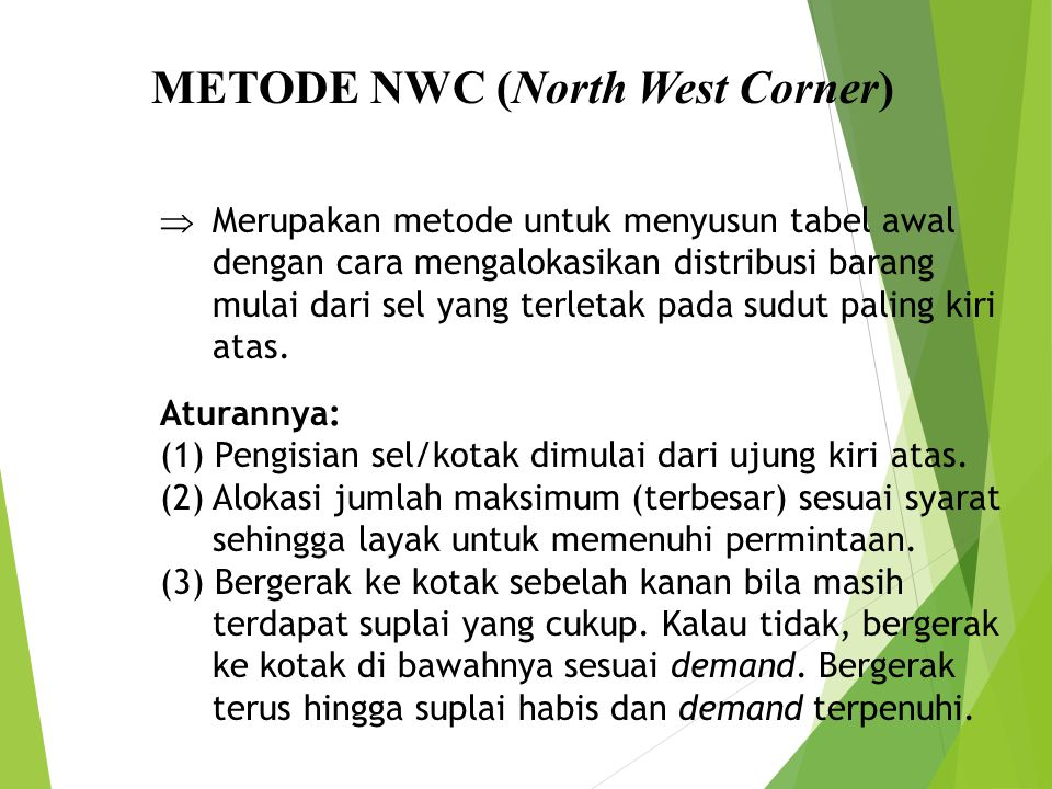 METODE NWC (North West Corner)