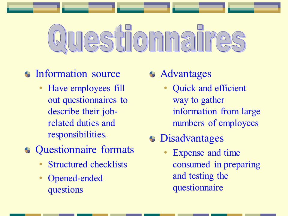 Questionnaires Information source Questionnaire formats Advantages