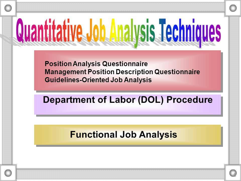 Quantitative Job Analysis Techniques