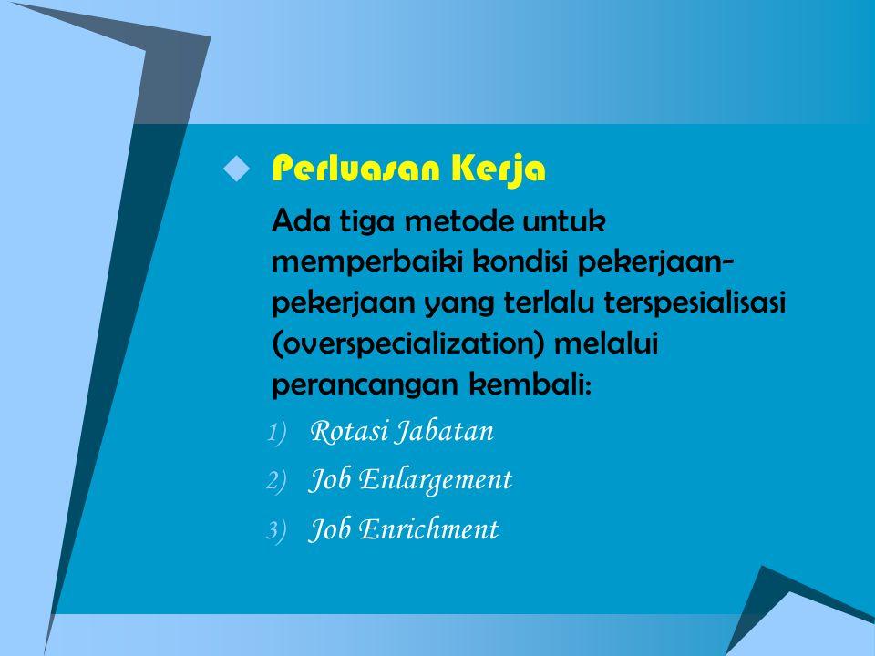 Perluasan Kerja Rotasi Jabatan Job Enlargement Job Enrichment