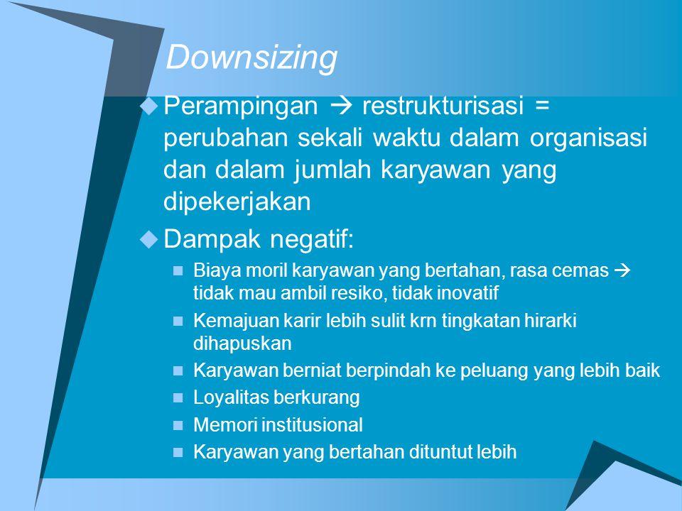 Downsizing Perampingan  restrukturisasi = perubahan sekali waktu dalam organisasi dan dalam jumlah karyawan yang dipekerjakan.