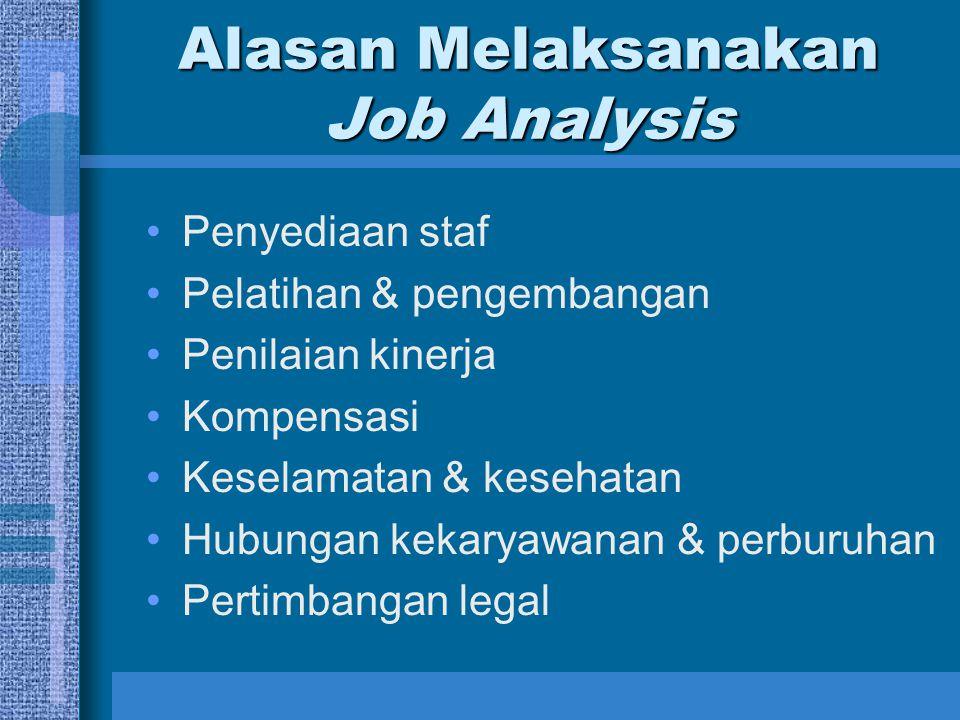 Alasan Melaksanakan Job Analysis