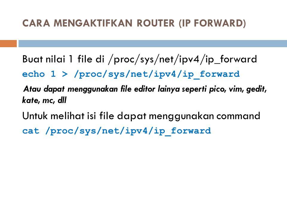 CARA MENGAKTIFKAN ROUTER (IP FORWARD)