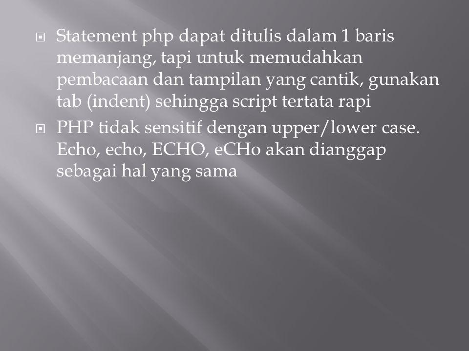 Statement php dapat ditulis dalam 1 baris memanjang, tapi untuk memudahkan pembacaan dan tampilan yang cantik, gunakan tab (indent) sehingga script tertata rapi