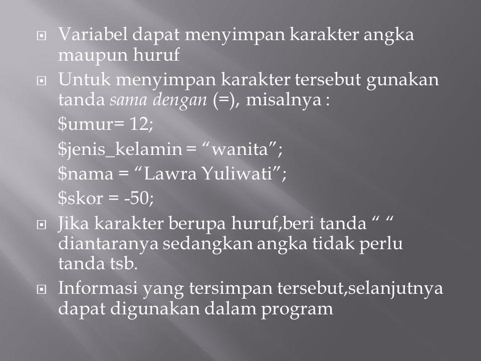 Variabel dapat menyimpan karakter angka maupun huruf