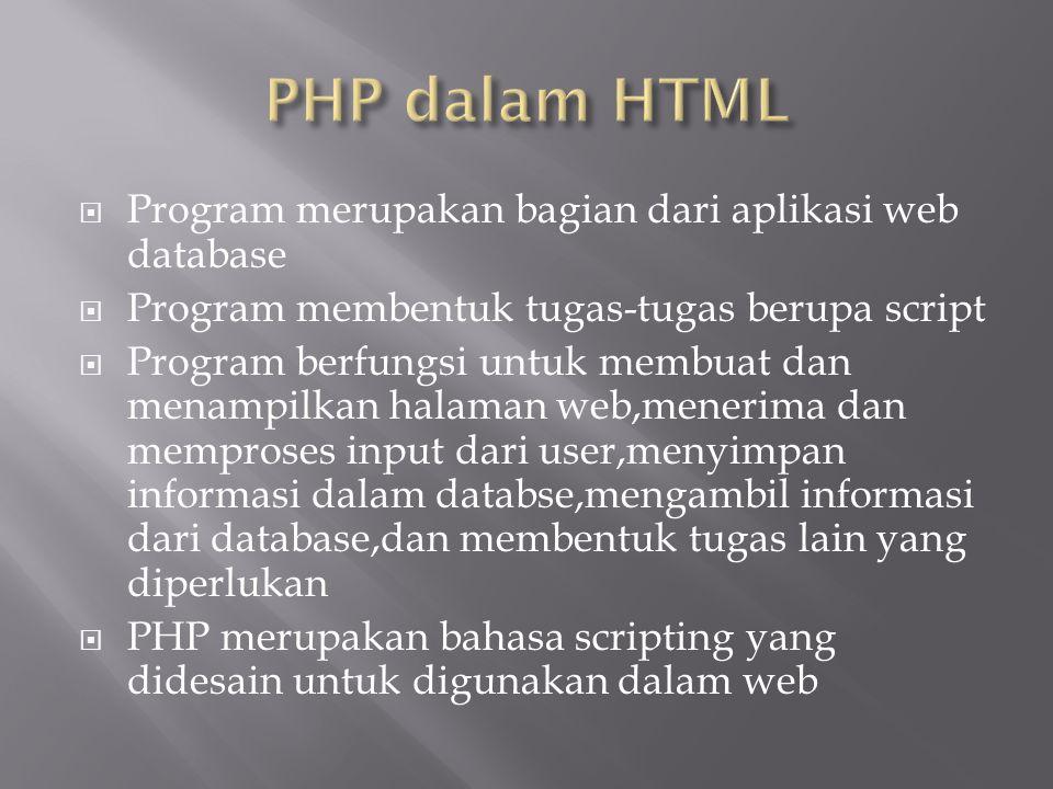 PHP dalam HTML Program merupakan bagian dari aplikasi web database