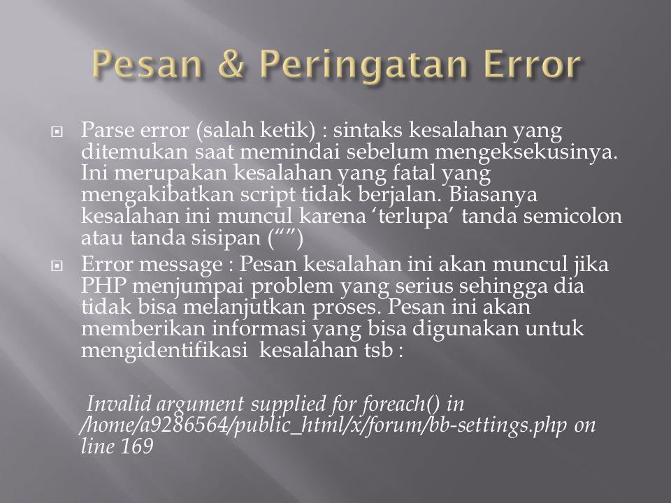 Pesan & Peringatan Error