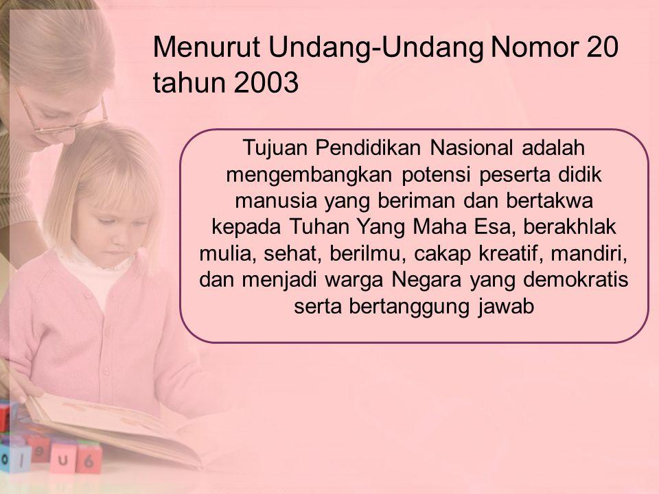 Menurut Undang-Undang Nomor 20 tahun 2003