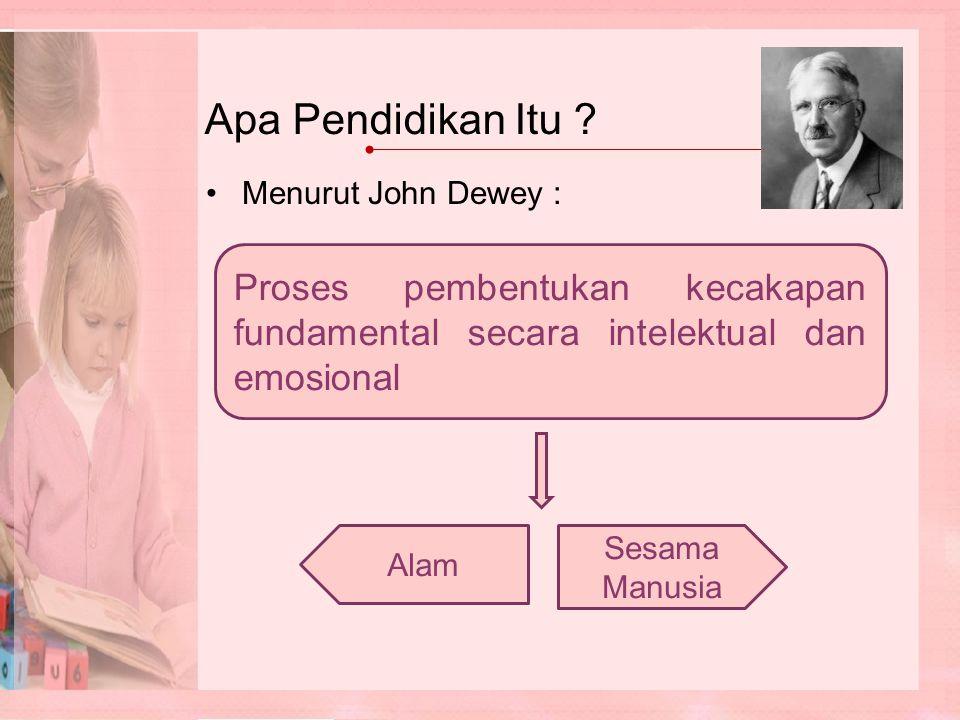 Apa Pendidikan Itu Menurut John Dewey : Proses pembentukan kecakapan fundamental secara intelektual dan emosional.