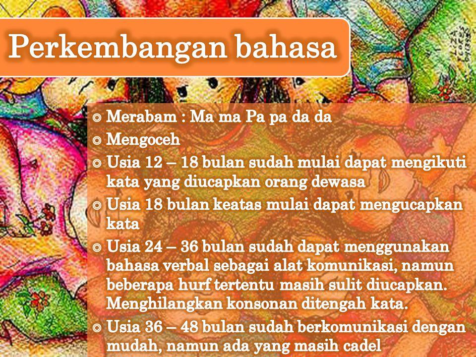 Perkembangan bahasa Merabam : Ma ma Pa pa da da Mengoceh