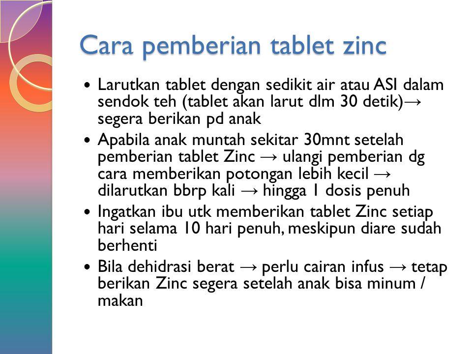 Cara pemberian tablet zinc