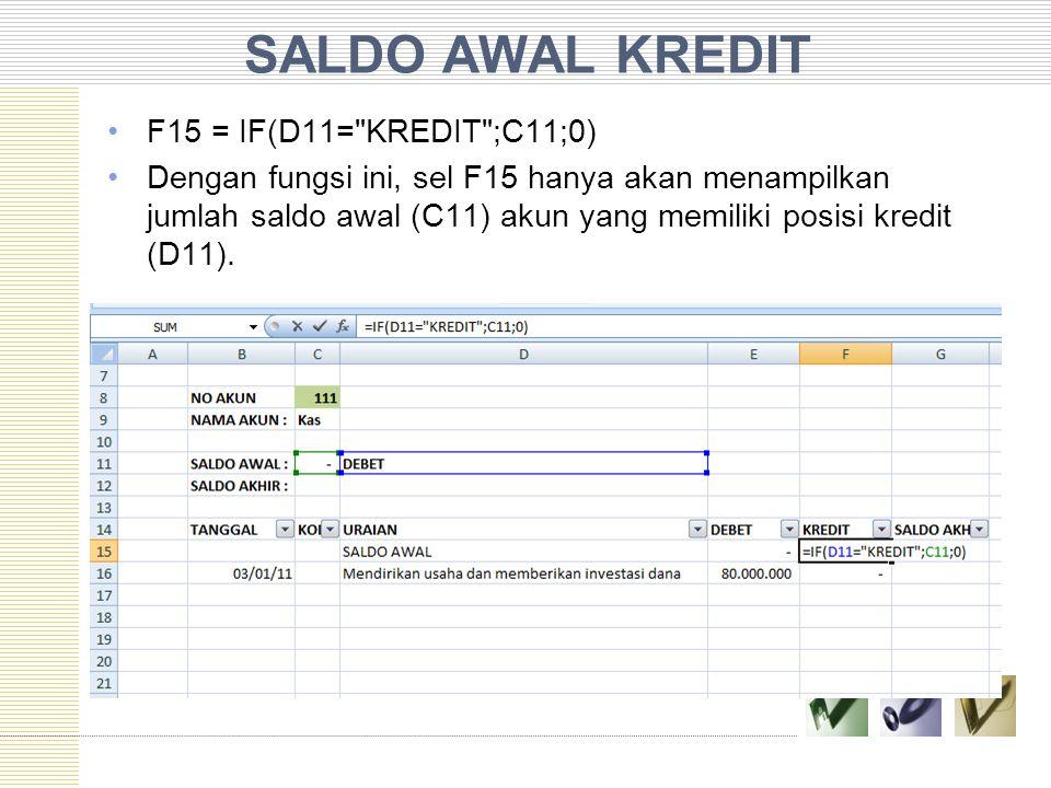 SALDO AWAL KREDIT F15 = IF(D11= KREDIT ;C11;0)