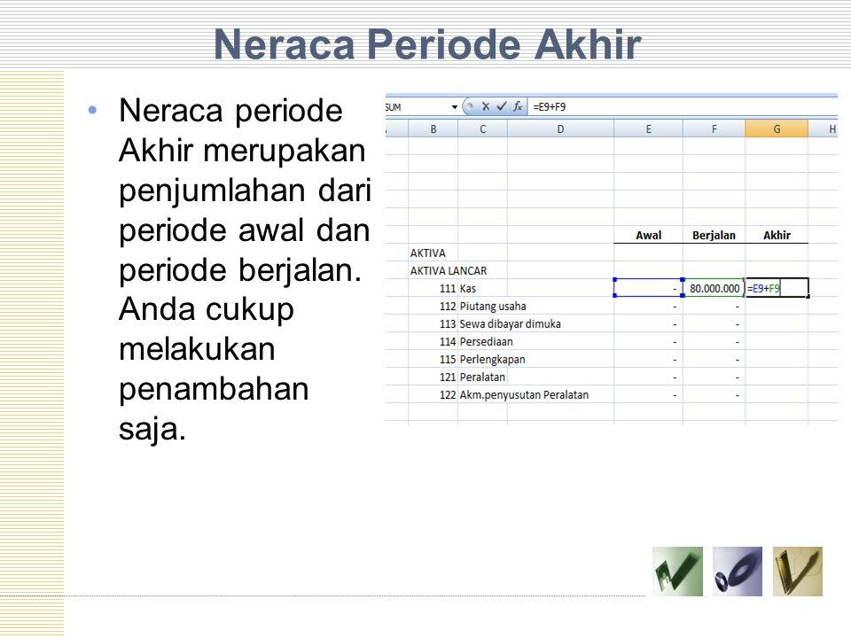Neraca Periode Akhir Neraca periode Akhir merupakan penjumlahan dari periode awal dan periode berjalan.