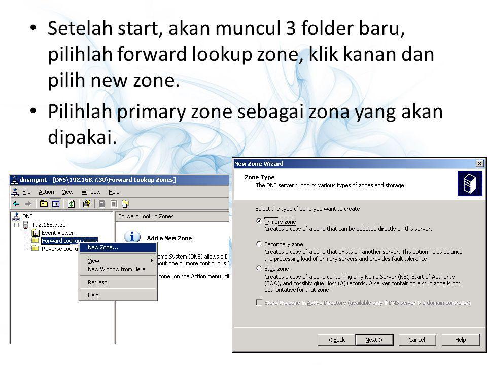 Setelah start, akan muncul 3 folder baru, pilihlah forward lookup zone, klik kanan dan pilih new zone.