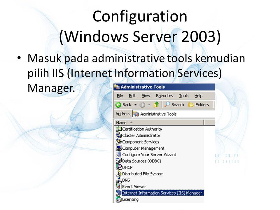Configuration (Windows Server 2003)
