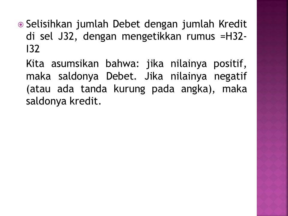Selisihkan jumlah Debet dengan jumlah Kredit di sel J32, dengan mengetikkan rumus =H32- I32