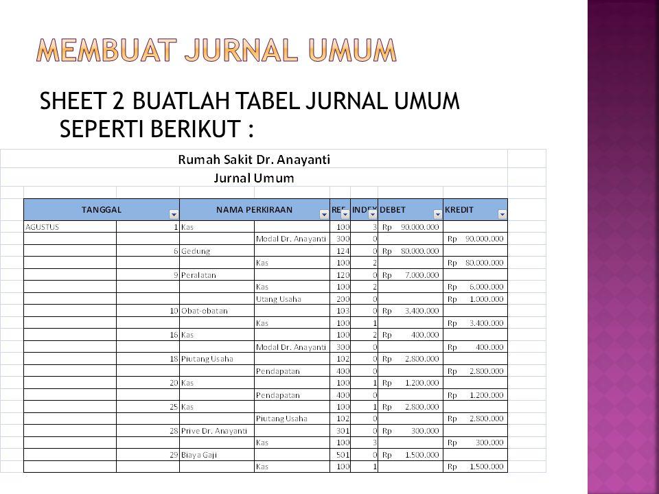 MEMBUAT JURNAL UMUM SHEET 2 BUATLAH TABEL JURNAL UMUM SEPERTI BERIKUT :