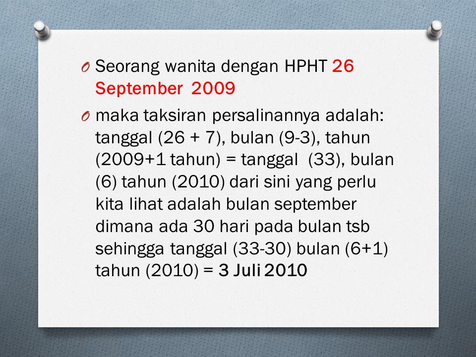 Seorang wanita dengan HPHT 26 September 2009