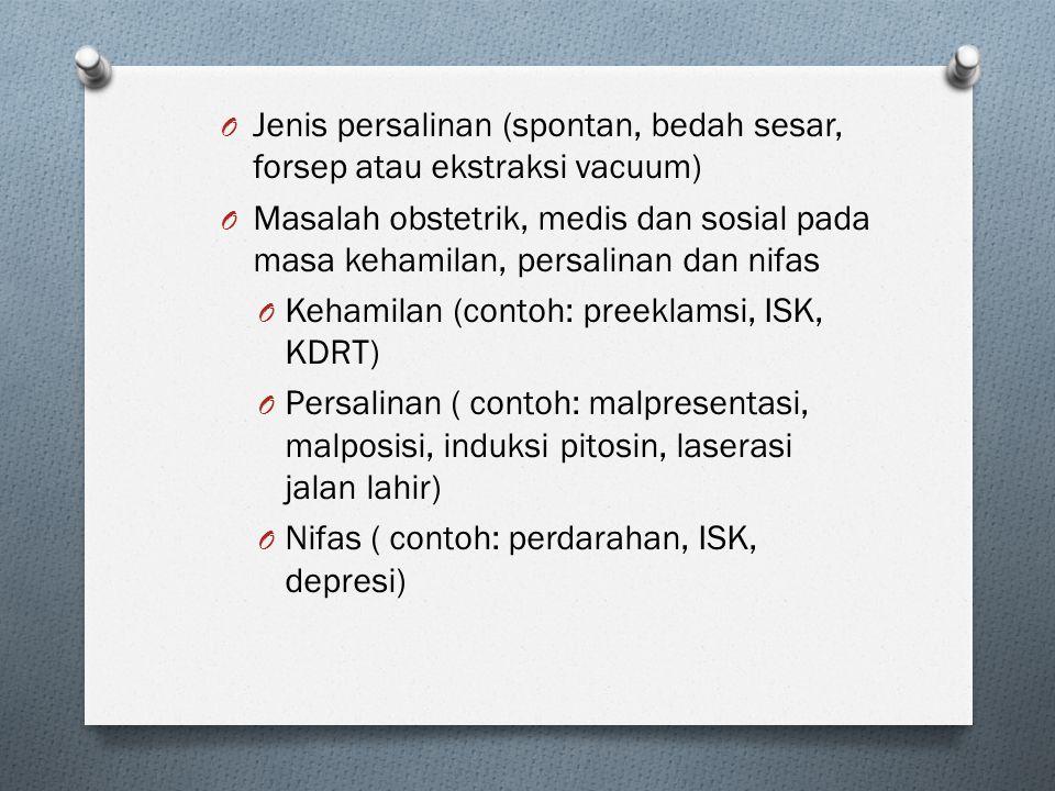 Jenis persalinan (spontan, bedah sesar, forsep atau ekstraksi vacuum)