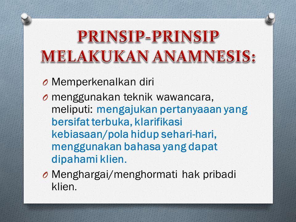 PRINSIP-PRINSIP MELAKUKAN ANAMNESIS: