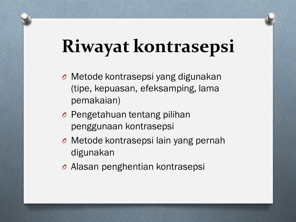 Riwayat kontrasepsi Metode kontrasepsi yang digunakan (tipe, kepuasan, efeksamping, lama pemakaian)