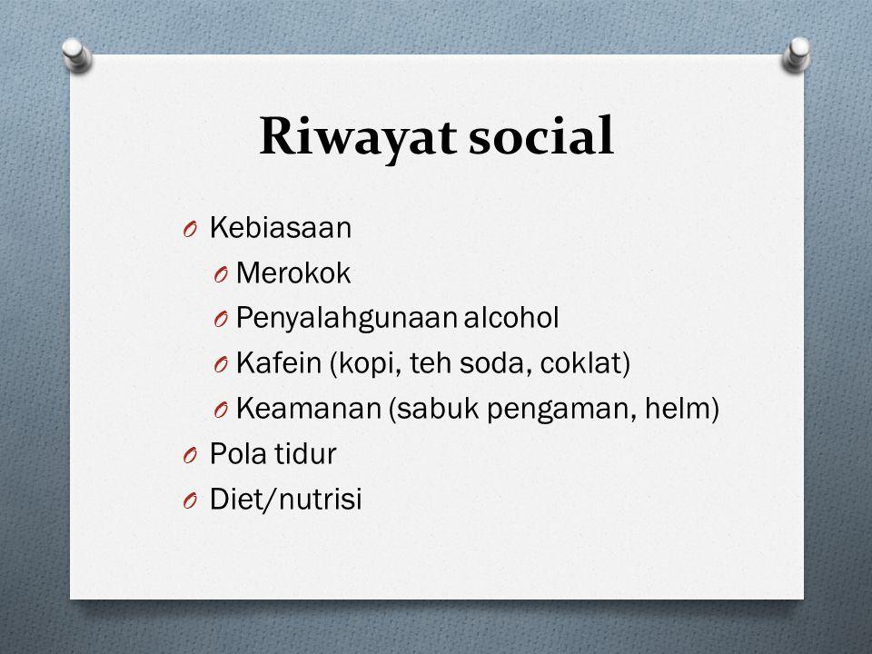 Riwayat social Kebiasaan Merokok Penyalahgunaan alcohol