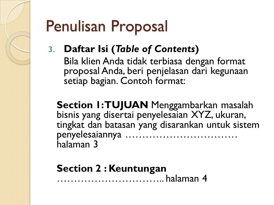 Penulisan Proposal Daftar Isi (Table of Contents)