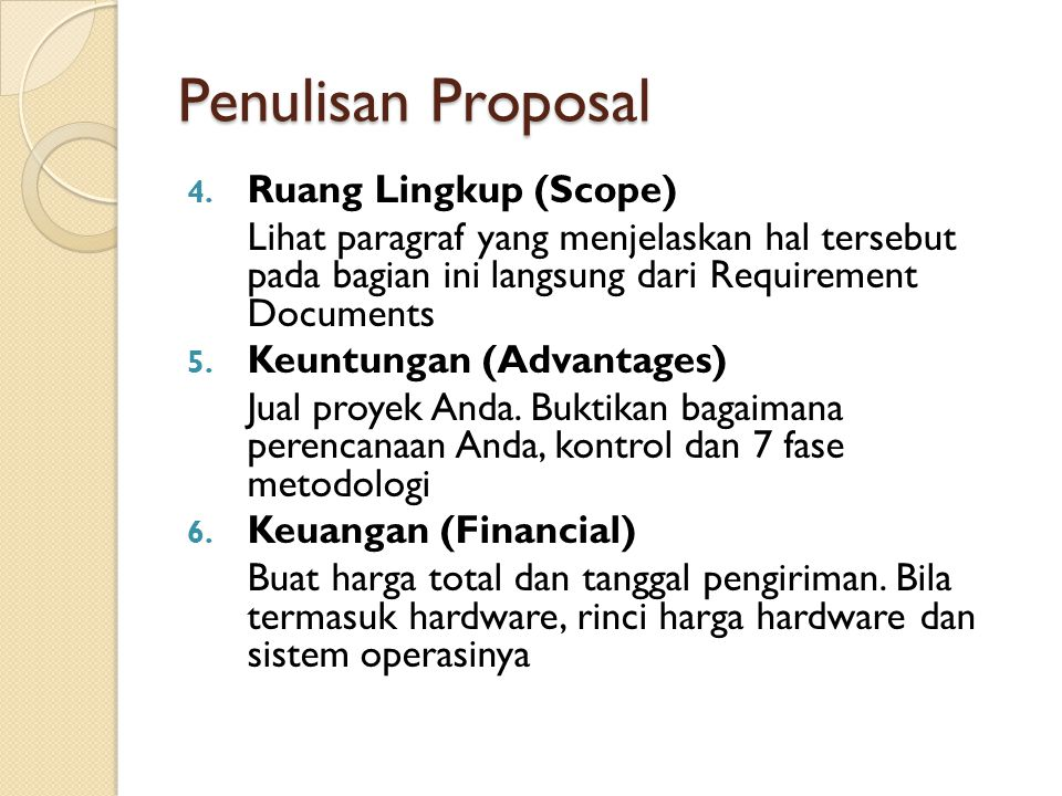 Penulisan Proposal Ruang Lingkup (Scope)