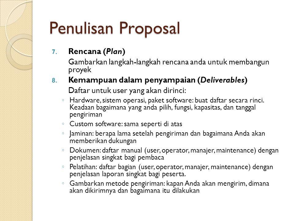 Penulisan Proposal Rencana (Plan)