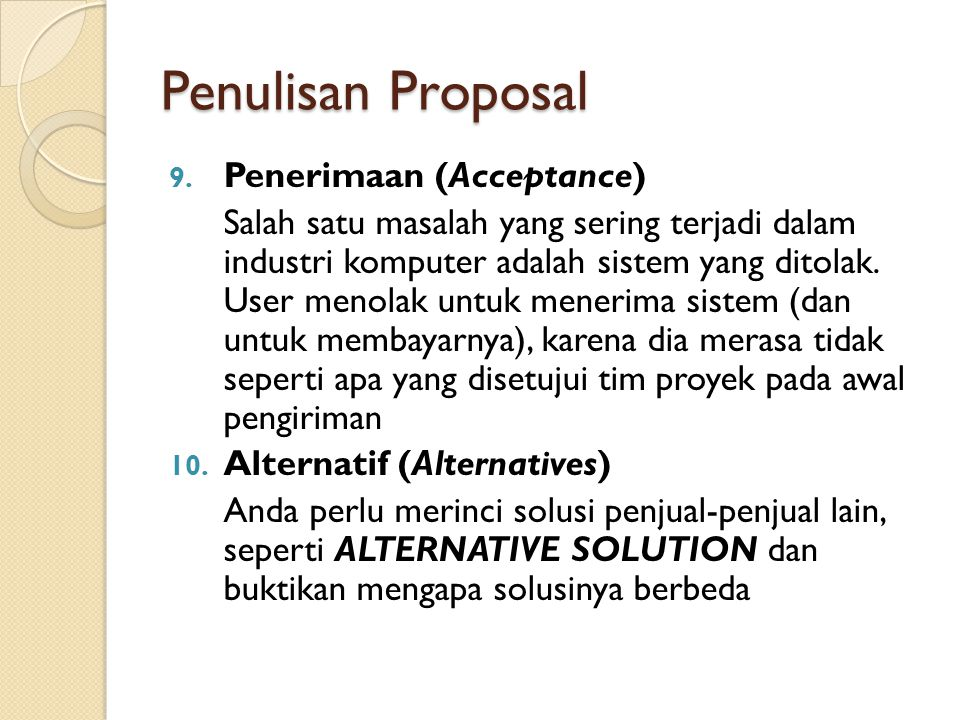 Penulisan Proposal Penerimaan (Acceptance)