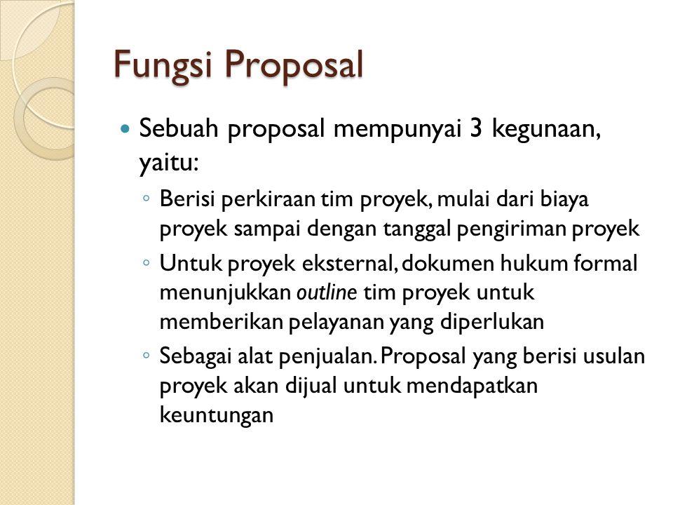 Fungsi Proposal Sebuah proposal mempunyai 3 kegunaan, yaitu: