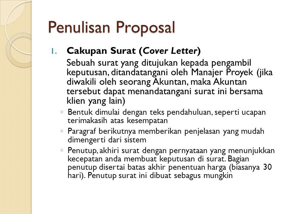 Penulisan Proposal Cakupan Surat (Cover Letter)