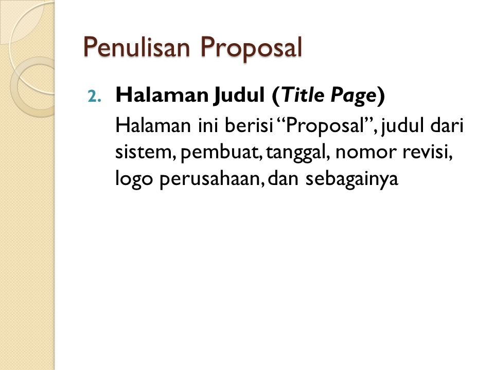 Penulisan Proposal Halaman Judul (Title Page)