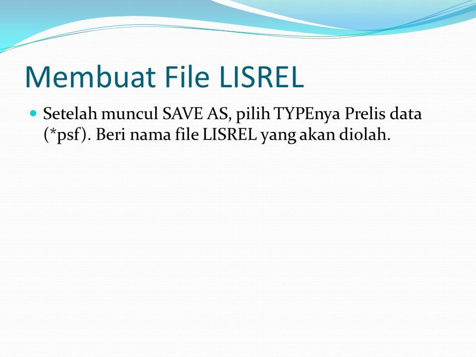 Membuat File LISREL Setelah muncul SAVE AS, pilih TYPEnya Prelis data (*psf).
