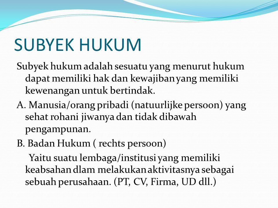 SUBYEK HUKUM