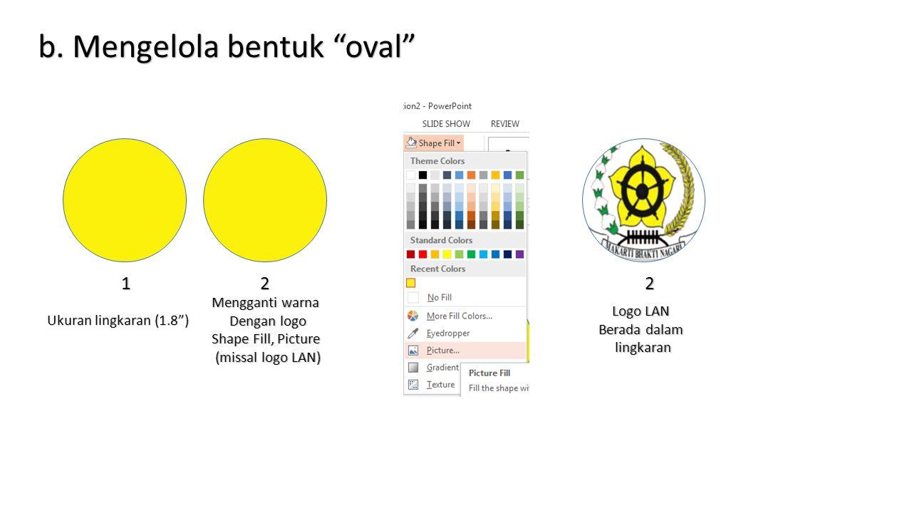 b. Mengelola bentuk oval