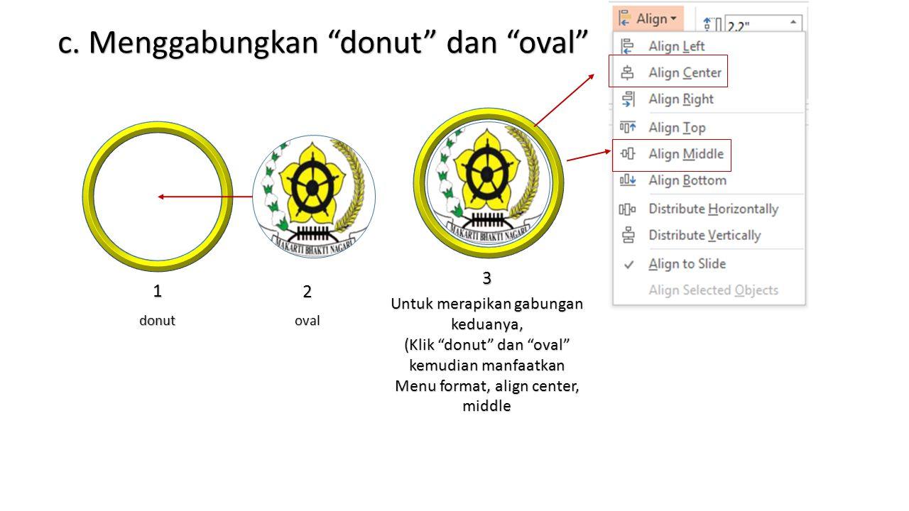 c. Menggabungkan donut dan oval