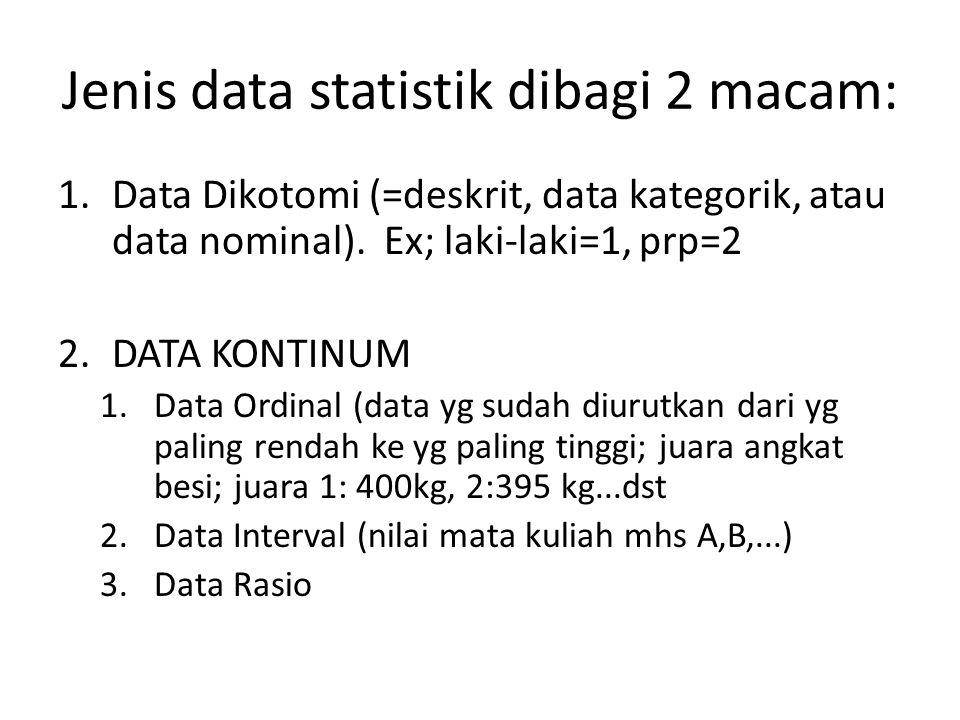 Jenis data statistik dibagi 2 macam: