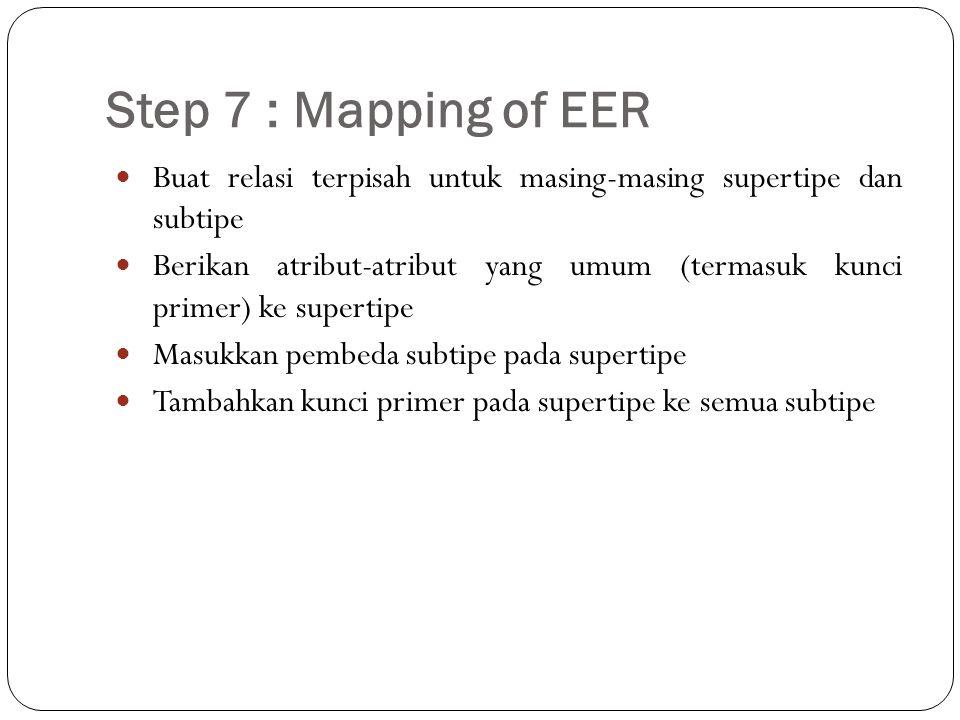 Step 7 : Mapping of EER Buat relasi terpisah untuk masing-masing supertipe dan subtipe.