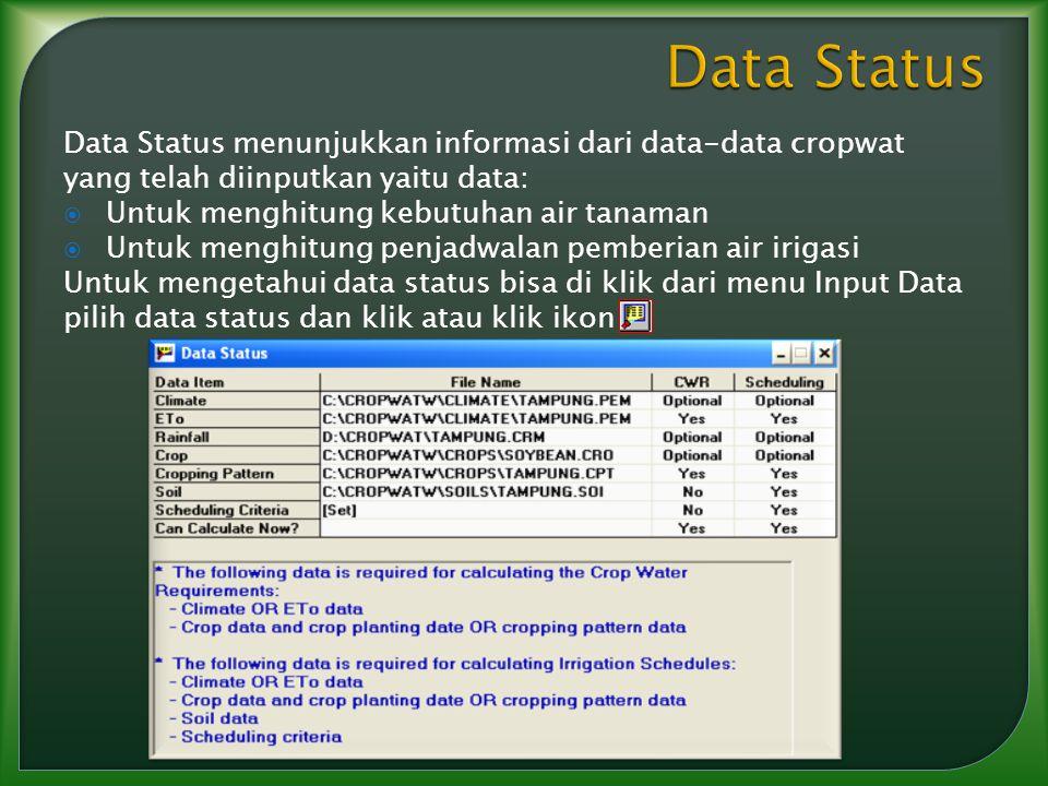 Data Status Data Status menunjukkan informasi dari data-data cropwat yang telah diinputkan yaitu data: